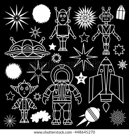 Space cartoon set. Spaceship, rocket, star, space suit, star, planet, alien, spaceman, white hand drawn isolated on black board background  - stock vector