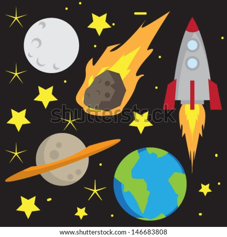 Space Cartoon Set Vector - stock vector