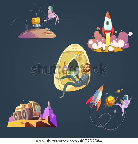 Space cartoon set with spaceship cosmonaut and planet isolated vector illustration  - stock vector