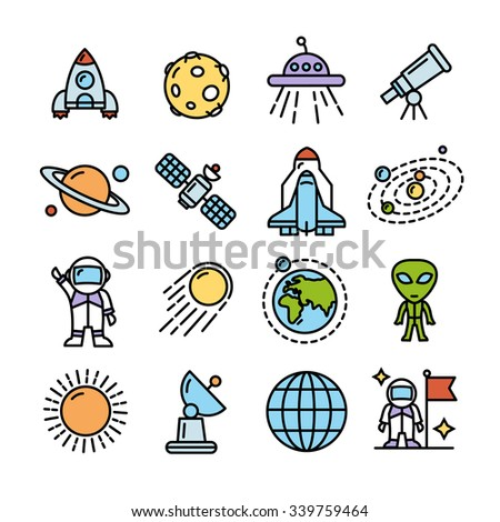 Space Colorful Modern Icons Set for Mobile Interface.  Vector illustration