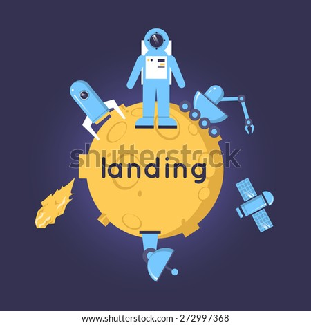 Space concept. An astronaut landed on a planet. Rocket, moon-walker, asteroid. Flat design vector illustration. - stock vector