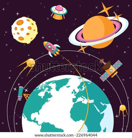 Space concept with globe and rocket satellites astronauts on orbit flat vector illustration - stock vector