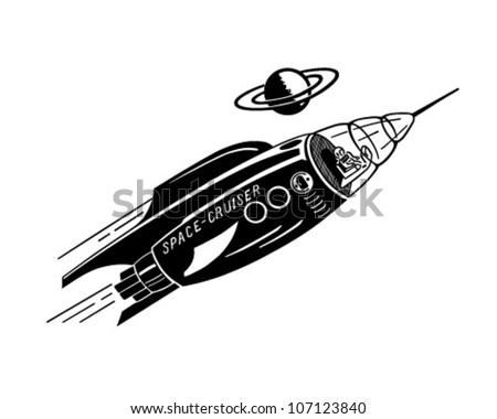 Space Cruiser - Retro Clipart Illustration - stock vector