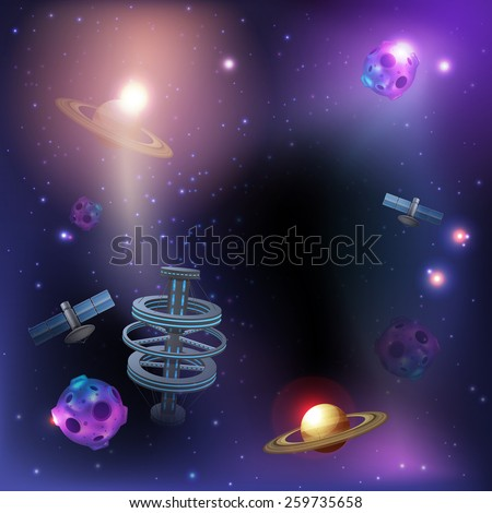 Space dark poster with realistic rocket ufo satellite and stars on background vector illustration - stock vector