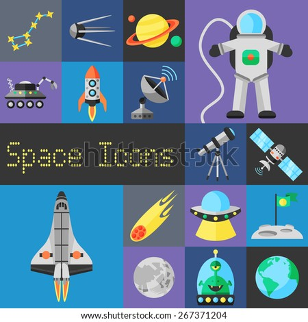 Space decorative icons flat set with planets ufo and astronaut isolated vector illustration - stock vector