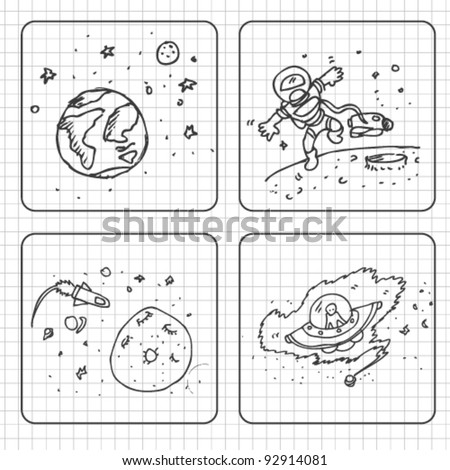 space doodle set illustration - stock vector
