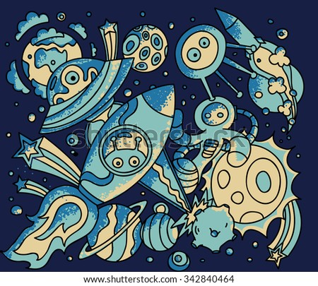 Space doodles.Ufos, planets, rockets and aliens. Vector cartoon illustration - stock vector
