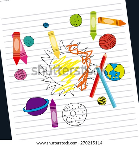 space drawn design, vector illustration eps10 graphic  - stock vector