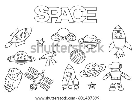 Space Elements Hand Drawn Set Coloring Book Template Outline Doodle Vector Illustration