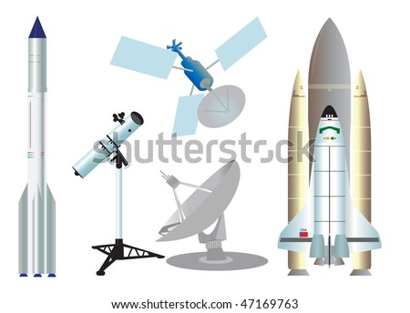 Space elements. Vector illustration - stock vector
