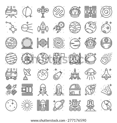 Space equipment and technique details icon set with planets and stars isolated on white background - stock vector