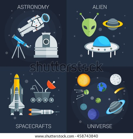Space flat compositions with astronomy alien shuttles rockets and satellites universe on blue background isolated vector illustration