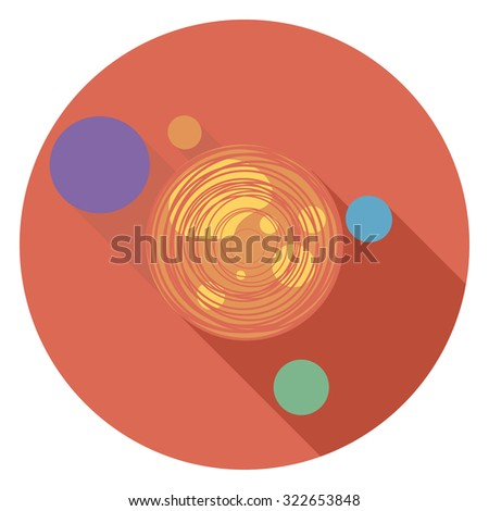 space flat icon in circle - stock vector