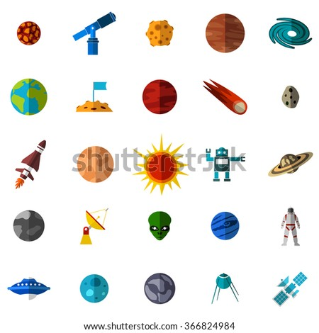 Space flat icons set. Space icons. Space icons vector. Space icons art. Space icons collection. Space icons flat. Space icons isolated. Space set. Space set vector. Space icons shape - stock vector
