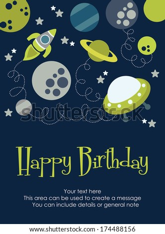 Space Happy Birthday Card Design Vector Stock Vector 174488156