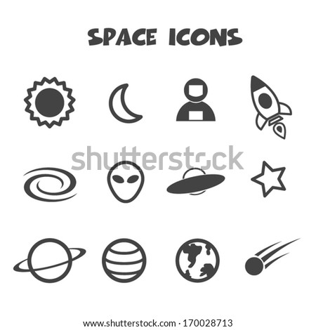 space icon, mono vector symbols