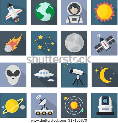 Space Icon set  flat designs - stock vector