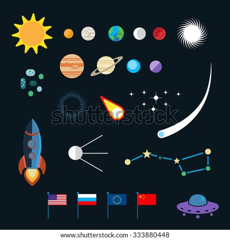 Space icon set. Planets, stars, spaceships, ufo, satellite, asteroids, meteorites and others - stock vector