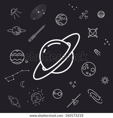 Space icon set, planets, vector illustration, un-expanded strokes
