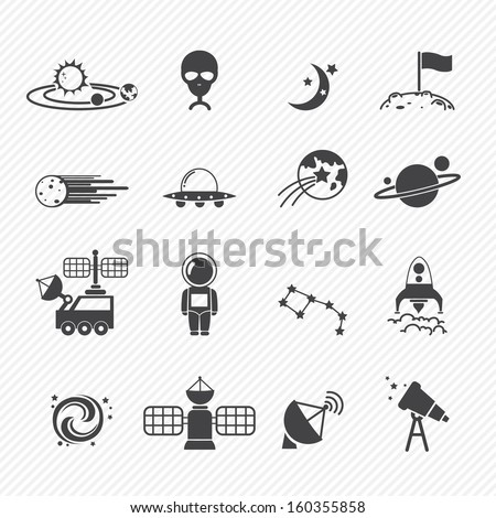 Space icons - stock vector