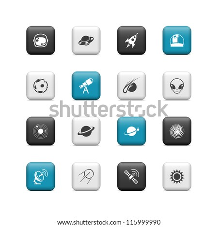 Space icons. Buttons - stock vector