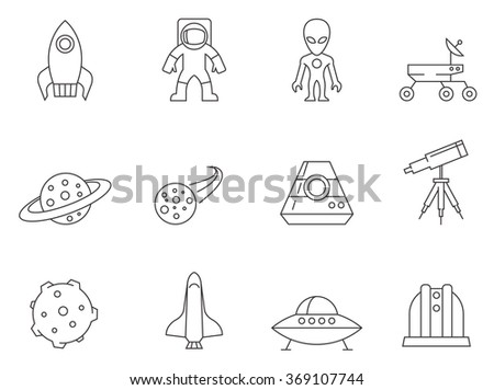 Space icons in thin outlines.  - stock vector