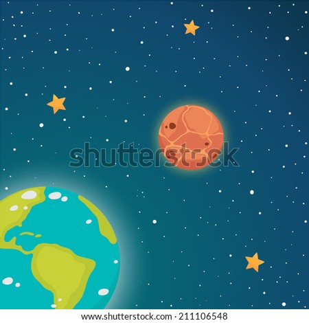 Space. Inner planets: Earth and Venus, vector. - stock vector