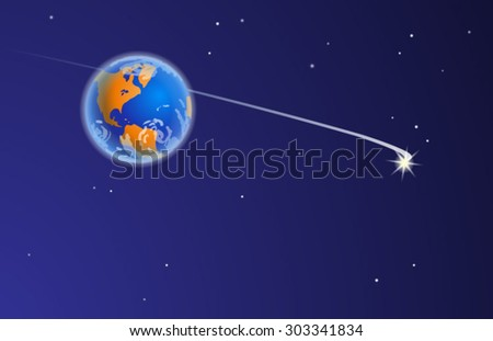 Space journey. Vector illustration of The Planet Earth from Space, with stars, the bright comet and comet's tail. Empty space leaves room for design elements or text.Postcard. Poster. Background. - stock vector