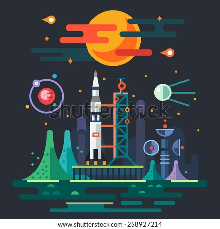 Space landscape, rocket launch on the background of a sunset. The sun, planets, stars, comets, moon, clouds, mountains, space station, satellite. Vector flat illustrations - stock vector