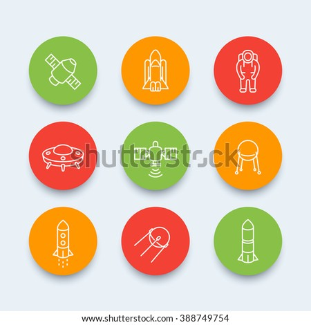 space line icons, satellite, astronaut, space shuttle, spaceship, spacecraft, space pictograms, round icons, vector illustration - stock vector