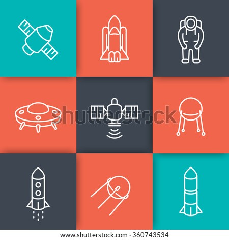 space line icons, satellite, space shuttle, spaceship, rocket, spacesuit, astronaut, vector illustration - stock vector
