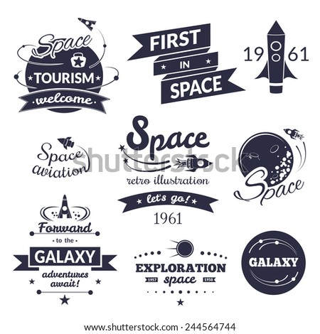 Space logo and label set, typography design, retro vector illustration - stock vector