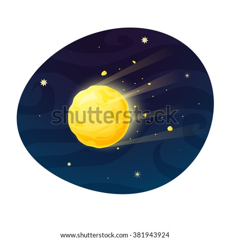 Space meteor flying in the sky, concept design, a beautiful print on a T-shirt for the fan astronomy, vector illustration - stock vector