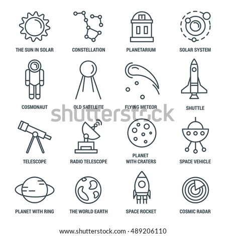 Space monochrome linear icons with solar system constellations shuttle and rocket telescopes and astronaut isolated vector illustration
