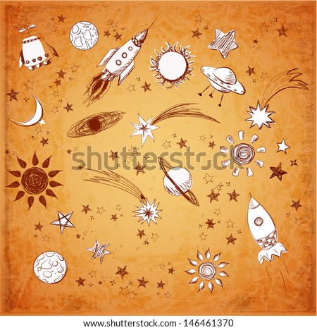 Space objects sketch: the sun, stars, the moon, rockets, comets etc. Vector illustration in vintage style.  - stock vector