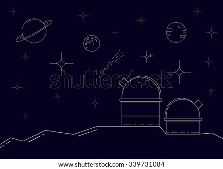Space observatory linear style illustration. Observatory station in mountains, stars, planets and comet on the night sky. Thin line icons. - stock vector