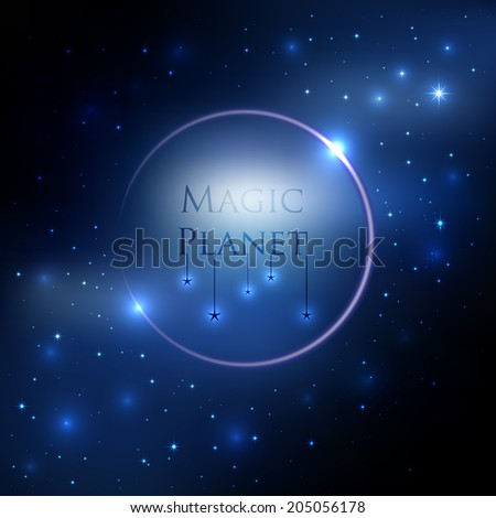 Space planet background with blue light and stars around vector - stock vector