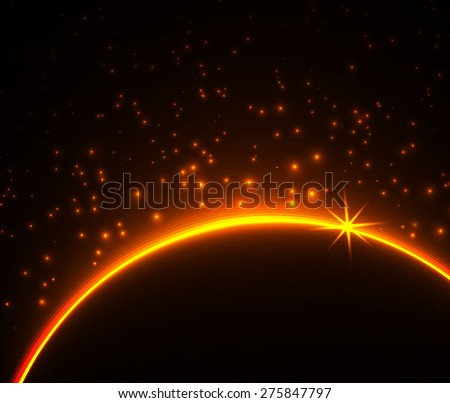 Space planet in the rays of light. Vector background.