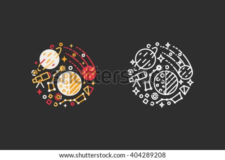 Space, planets, universe logo template. Vector illustration modern flat and line style