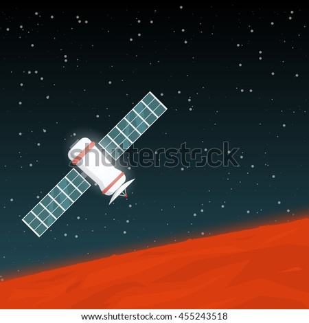Space probe flying in space near red planet like Mars, with solar panels and satellite antenna, glowing in the dark. - stock vector