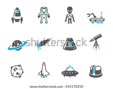 Space related icons in duo tone colors - stock vector