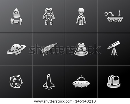 Space related icons in metallic style
