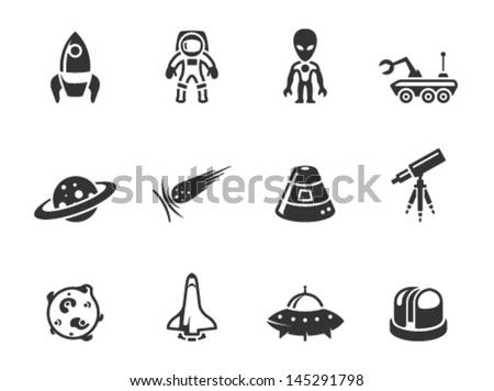 Space related icons in single color - stock vector