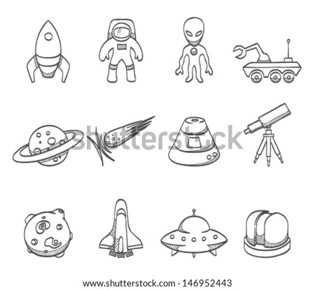 Space related icons in sketch