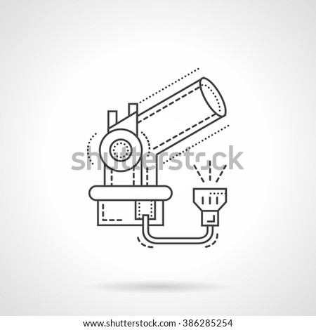 Space research theme. Abstract telescope. Astronomy equipment. Observatory. Flat thin line style vector icon. Single design element for website, business. - stock vector