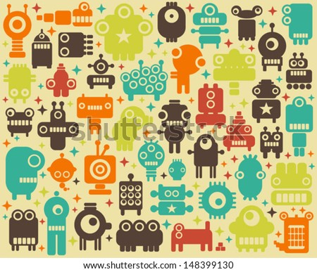 Space robots, monsters, alien colorful background. Vector illustration.  - stock vector