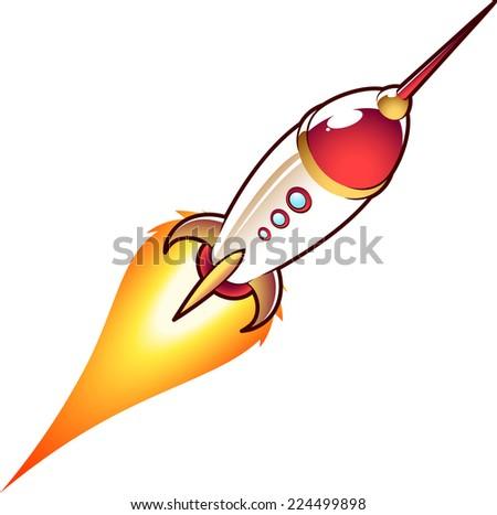 Space rocket cartoon illustration - stock vector