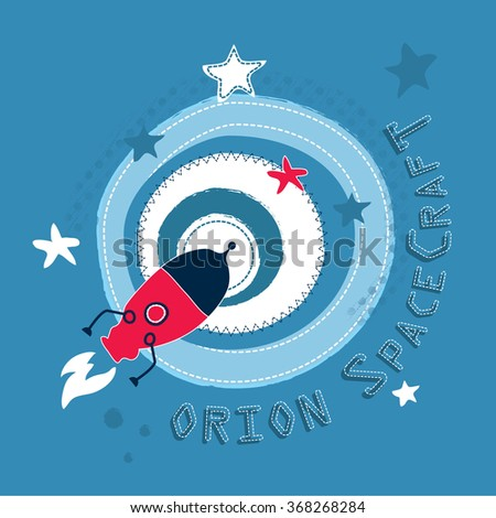 Space rocket flying in space, T-shirt design vector illustration - stock vector