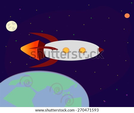 Space rocket flying in space with moon and stars on background