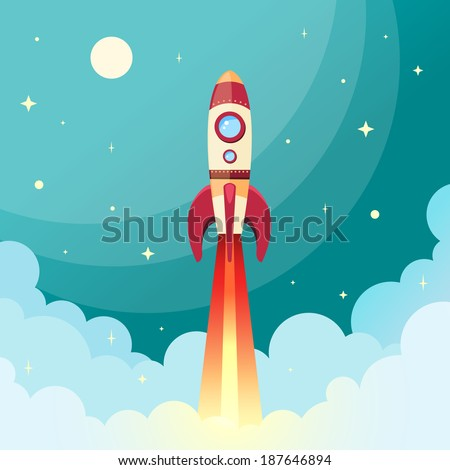 Space rocket flying in space with moon and stars on background print vector illustration - stock vector
